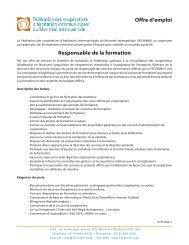 Responsable de la formation Offre d'emploi - Coopératives d ...