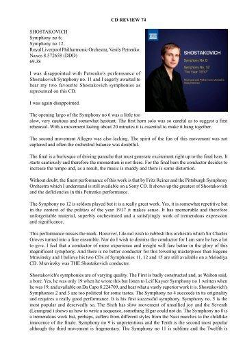 CD Review 74 Shostakovich: Symphony no 6 - Dr David Wright