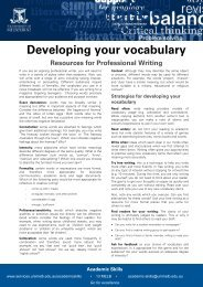 Developing your vocabulary - Student Services