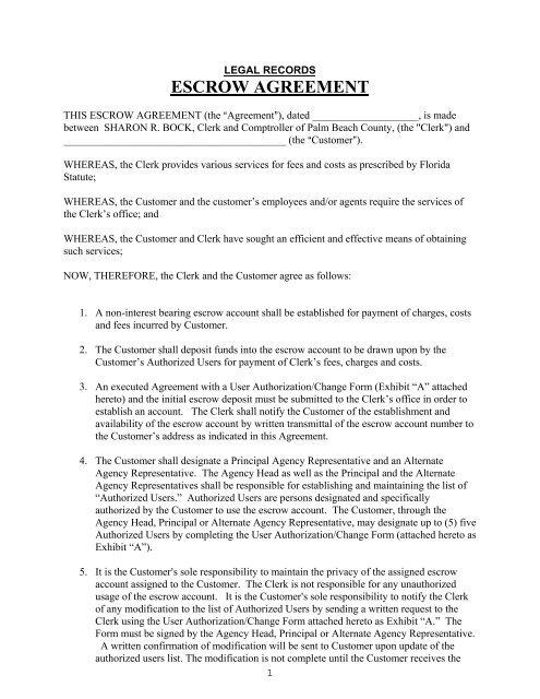 Escrow Agreement Form Clerk Comptroller Palm Beach County