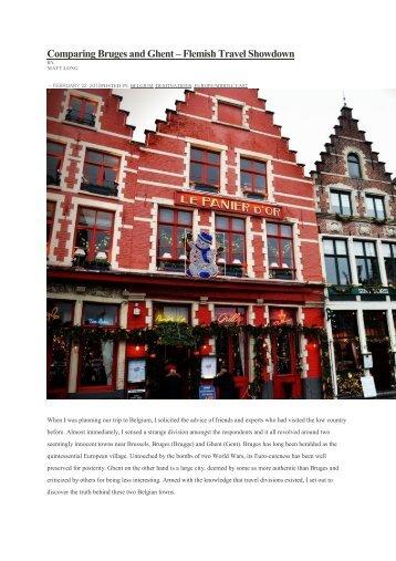 Comparing Bruges and Ghent – Flemish Travel Showdown - Visit Gent