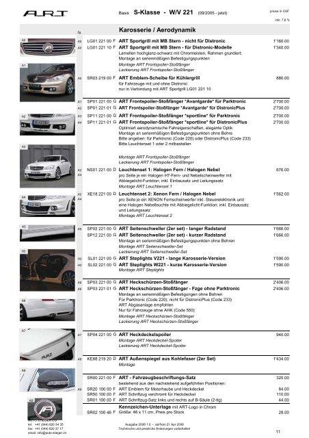 Karosserie / Aerodynamik Basis S-Klasse - W/V 221 ... - Auto-Stieger