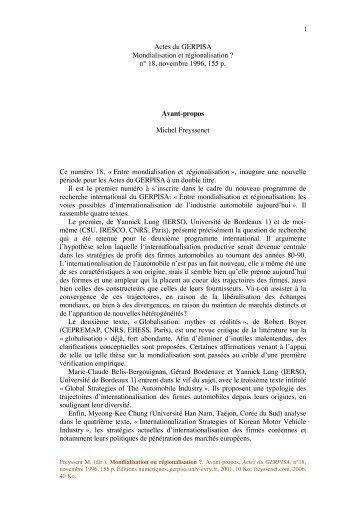 Avant propos Mondial.. - Michel Freyssenet
