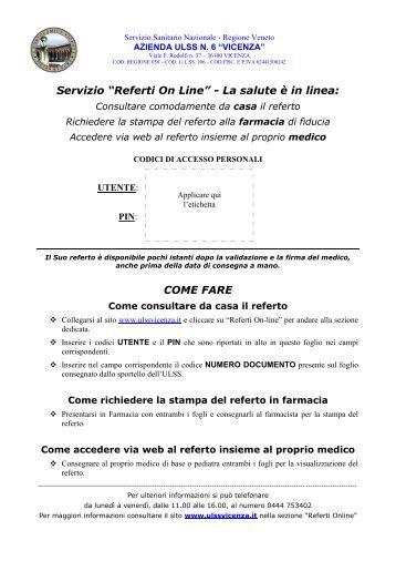 """Servizio """"Referti On Line"""" - La salute è in linea ... - ULSS 6 Vicenza"""