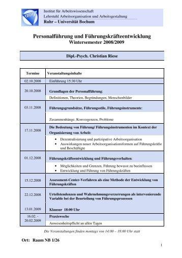 Personalführung und Führungskräfteentwicklung WS 2008-2009 ...