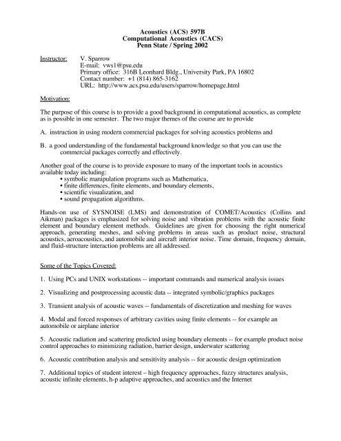 Spring 2002 Syllabus - Graduate Program in Acoustics