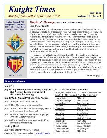KC799 Newsletter 2012 07 - Texas Knights of Columbus