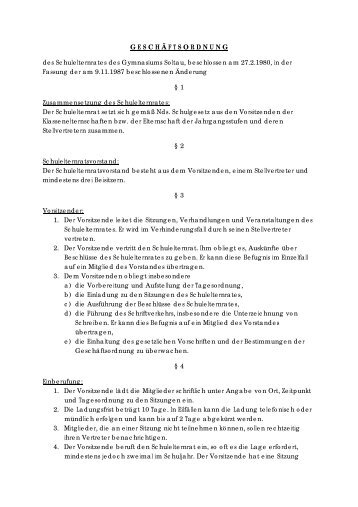 Geschäftsordnung - Elternrat des Gymnasium Soltau