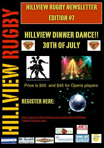 HILLVIEW DINNER DANCE!! 30TH OF JULY - Hillview Rugby