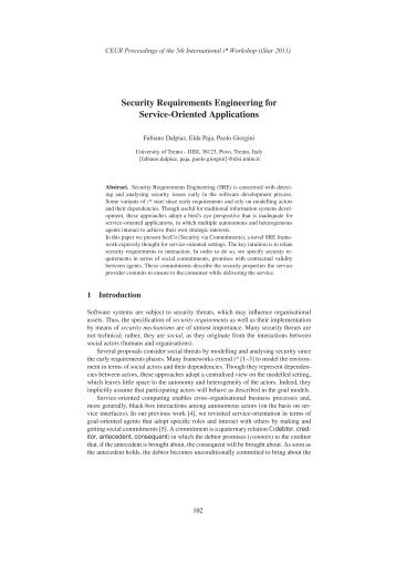 Security Requirements Engineering for Service ... - CEUR-WS.org