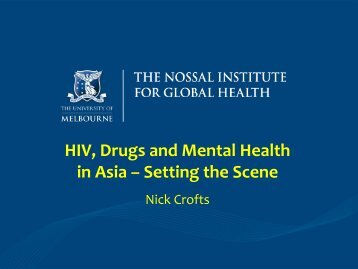 Prof Nick Crofts - University of Melbourne