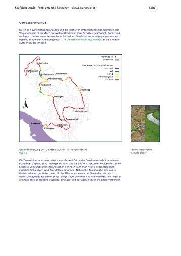 Seite 1 Seefelder Aach - Probleme und Ursachen - Gewässerstruktur