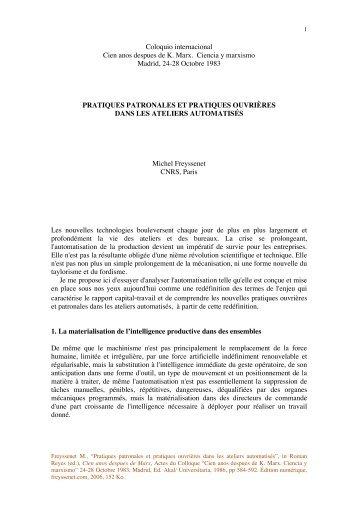 Pratiques patronales et ouv.pdf - Michel Freyssenet