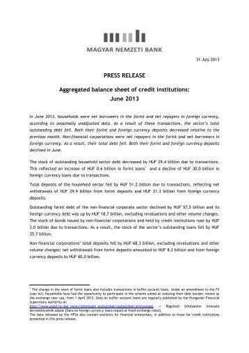 Press release - Magyar Nemzeti Bank
