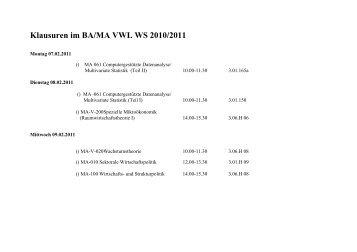Klausuren im BA/MA VWL WS 2010/2011 - BWL-UP