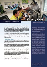 Quarterly Cashflow and Activities Report - Galaxy Resources