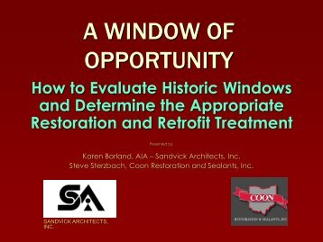 A Window of Opportunity: How to Evaluate Historic ... - Heritage Ohio