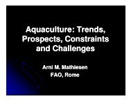 Aquaculture: Trends, Prospects, Constraints and Challenges