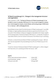 VP Bank (Luxembourg) S.A.: Changes in the management structure ...
