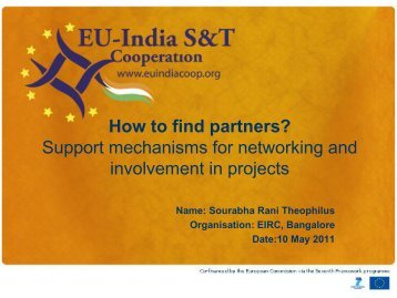 How to find partners? Support mechanisms for networking and ...