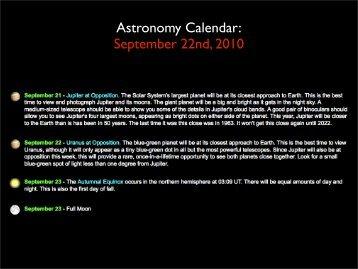 Astronomy Calendar: September 22nd, 2010