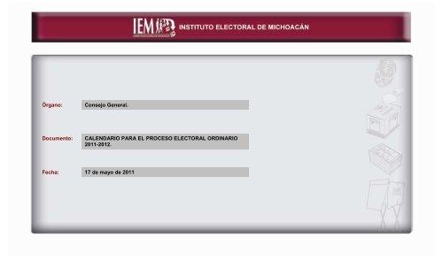 CALENDARIO ELECTORAL 2011 - Instituto Electoral de Michoacán