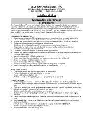 Job Description KIDDAZZLE Coordinator - Self Enhancement, Inc.