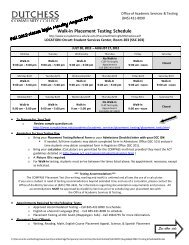 Walk-in Placement Testing Schedule - Dutchess Community College
