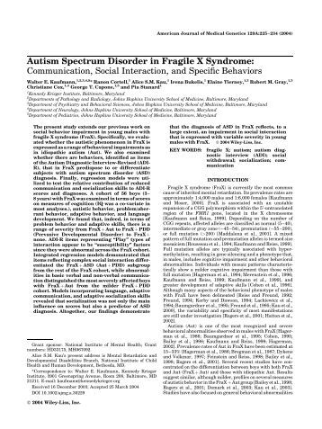relationship between fragile syndrome and autism