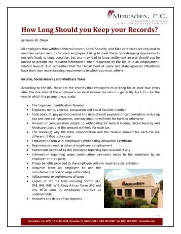 How Long Should you Keep your Records?