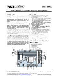 WM1811A Product Brief, Rev 3.0 - Wolfson Microelectronics plc