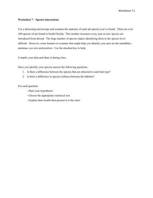 Worksheet 7 1 Worksheet 7 A Species Interactions Use A Dissecting