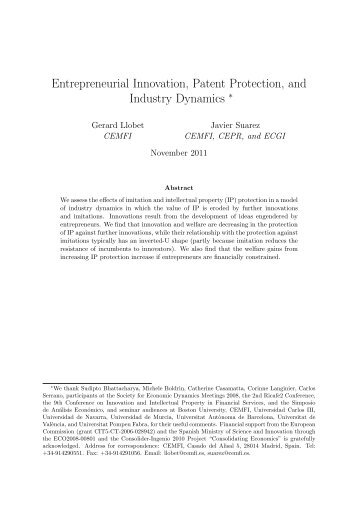Entrepreneurial Innovation, Patent Protection and Industry ... - Cemfi