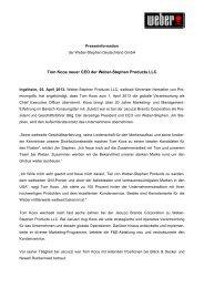 03.04.2013 - Tom Koos neuer CEO der Weber-Stephen Products LLC