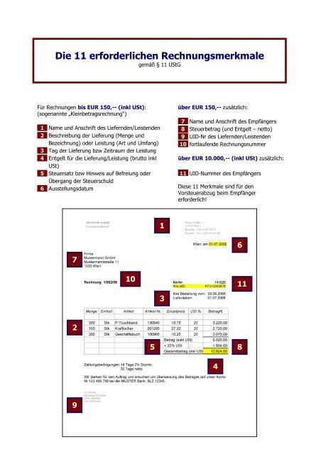 aa1c84f036279b Die 11 erforderlichen Rechnungsmerkmale