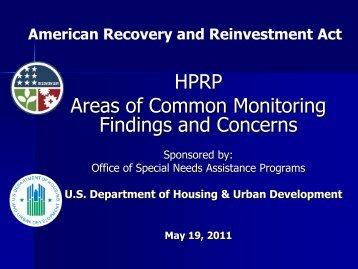 HPRP Common Monitoring Findinge Webinar Slides - OneCPD
