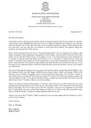 DVS/edw September 2013 Dear Parent/Guardian, I ... - Kings' School
