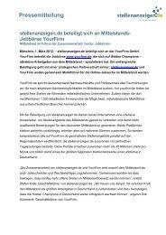 Pressemitteilung stellenanzeigen.de beteiligt sich an Mittelstands