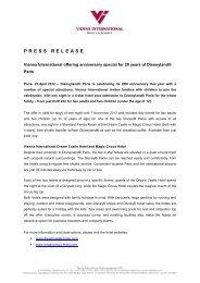 PRESS RELEASE - Vienna International Hotelmanagement AG