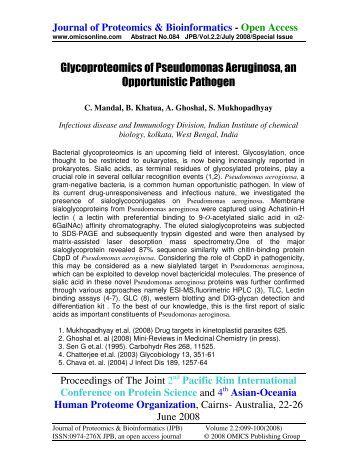 Glycoproteomics of Pseudomonas Aeruginosa, an ... - OMICS Group