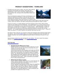 PRODUCT SUGGESTIONS – FIORDLAND - New Zealand