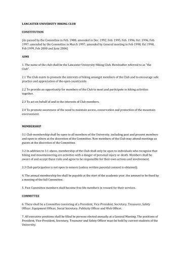 club constitution sample outline
