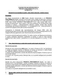 FUSIONE PER INCORPORAZIONE DI PREGECO ... - Rdb