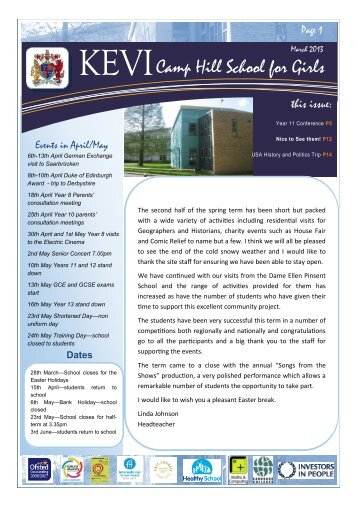 Newsletter – March 2013 - King Edward VI Camp Hill School for Girls
