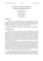 Innovation's Managers and Social Maturity ABSTRACT ...