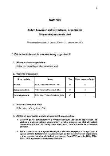 Dotazník - Ústav etnológie SAV - Slovenská Akadémia Vied