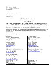 Share Buy-Back - ARC Capital Holdings Ltd