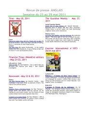 Revue de presse ANGLAIS Semaine du 23 au 29 mai 2011 - Scelva