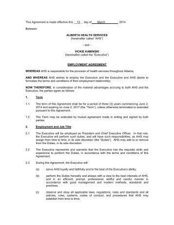 Charming Ahs Org Executive Employment Agreement President Ceo