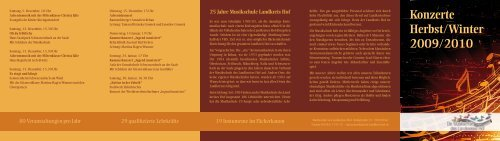 Konzerte Herbst/Winter 2009/2010 - VHS Landkreis Hof